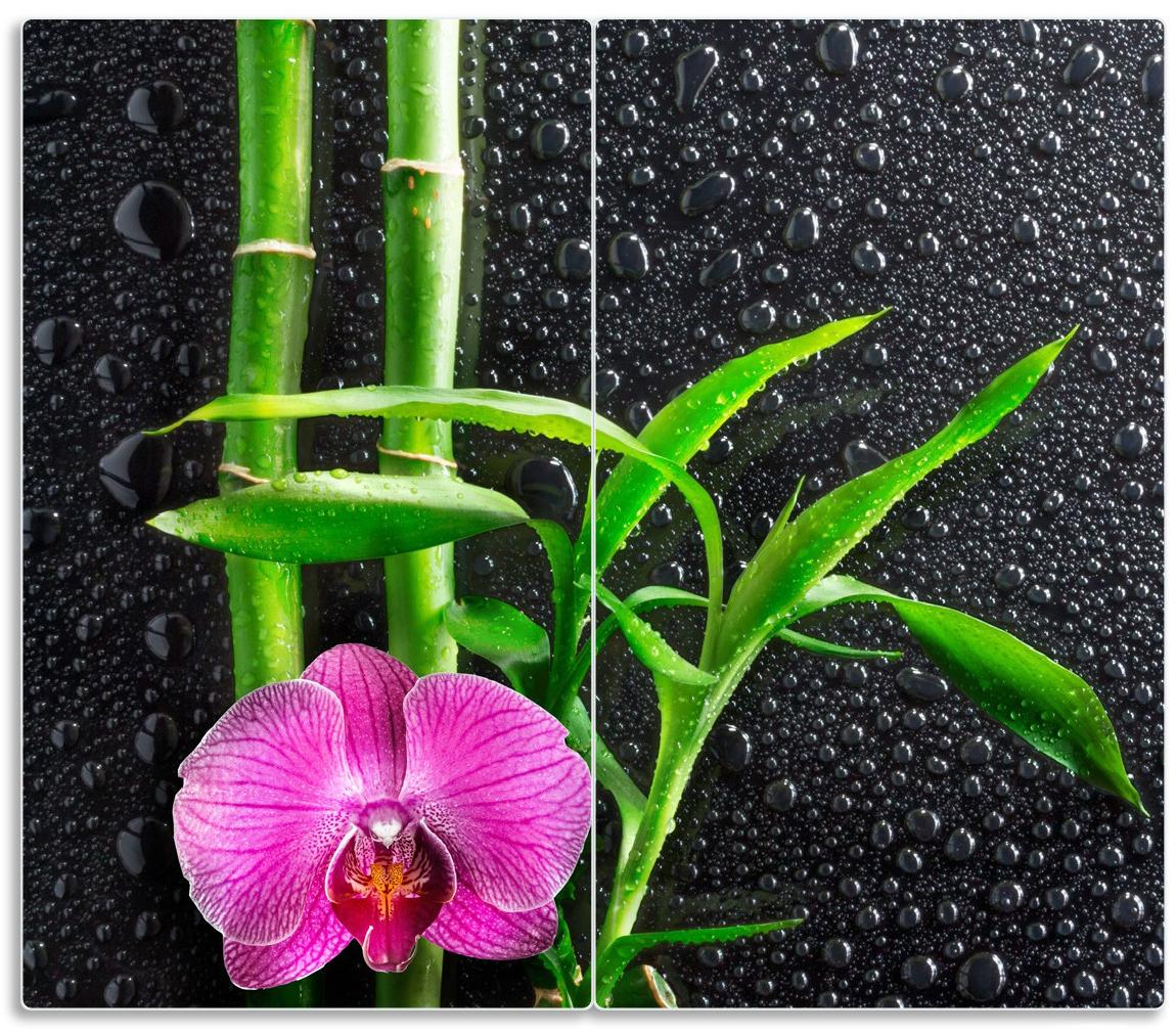 Herdabdeckplatte Bambus und pinke Orchidee auf schwarzem Glas mit Regentropfen – Bild 1