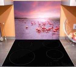 Herdabdeckplatte Rosa Flamingos bei Sonnenuntergang – Bild 3