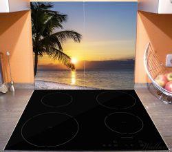 Herdabdeckplatte Palme am Strand - Sonnenuntergang über dem Meer – Bild 3