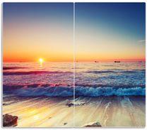Herdabdeckplatte Sonnenuntergang am Meer mit Wellen am Strand