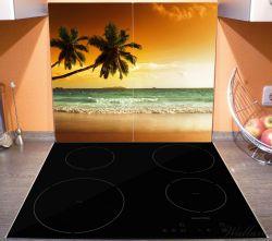 Herdabdeckplatte Palmen am Sandstrand bei untergehender Sonne – Bild 3