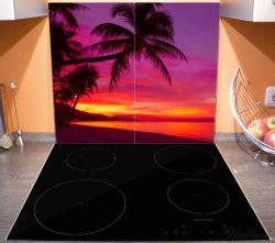 Herdabdeckplatte Abendrot unter Palmen - pinker Himmel am Strand – Bild 3