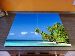 Herdabdeckplatte Blauer Himmel, weißer Strand, Palmen und das tiefblaue Meer – Bild 2