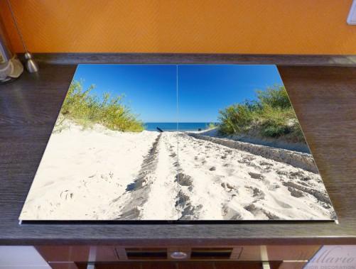 Herdabdeckplatte Auf dem Sandweg zum Strand - Blauer Himmel über dem Meer – Bild 2
