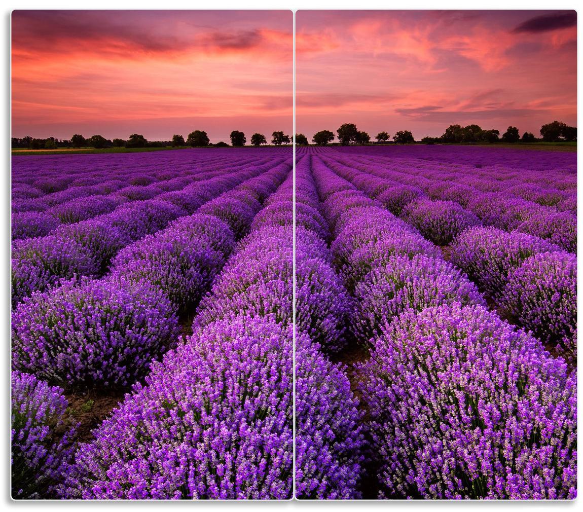 Herdabdeckplatte Lavendelfeld unter rotem Himmel – Bild 1