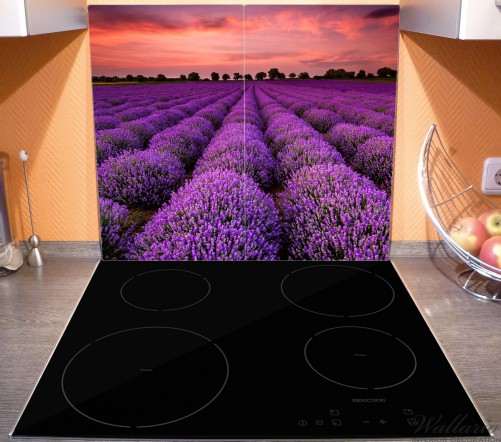 Herdabdeckplatte Lavendelfeld unter rotem Himmel – Bild 3