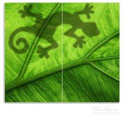 Herdabdeckplatte Gecko Schatten auf grünem Blatt - Umriss – Bild 1