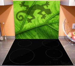 Herdabdeckplatte Gecko Schatten auf grünem Blatt - Umriss – Bild 3