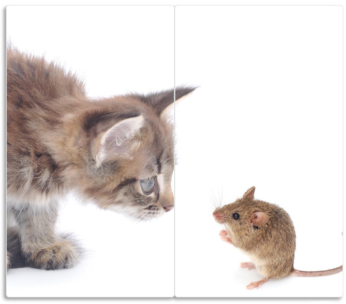Herdabdeckplatte Katze und Maus beim Spielen - weißer Hintergrund – Bild 1