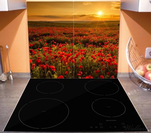 Herdabdeckplatte Mohnblumenwiese bei Sonnenuntergang am Abend – Bild 3