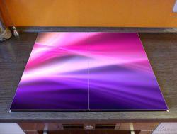 Herdabdeckplatte Abstrakte Formen und Linien in pink lila – Bild 2