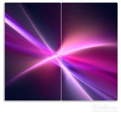 Herdabdeckplatte Abstrakte Formen und Linien, schwarz lila pink weiß – Bild 1