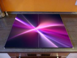 Herdabdeckplatte Abstrakte Formen und Linien, schwarz lila pink weiß – Bild 2