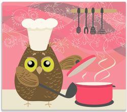 Herdabdeckplatte Lustige Eule beim Kochen mit Kochmütze – Bild 1