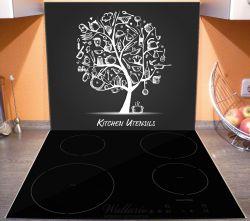 Herdabdeckplatte Kitchen Utensils - Baum aus Küchenutensilien in schwarz weiß – Bild 3