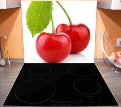 Herdabdeckplatte Saftige Süß-Kirschen mit grünem Blatt – Bild 3