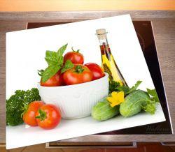 Herdabdeckplatte Frische Salatzutaten mit Kräuter-Öl - Tomaten, Gurke, Petersilie – Bild 2