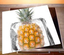 Herdabdeckplatte Ananas in Eiswürfel - Eiskaltes Obst – Bild 2