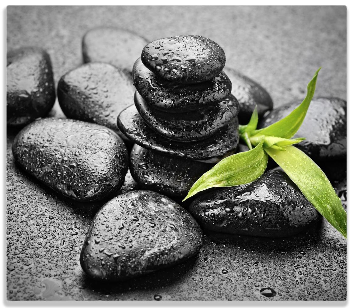 Herdabdeckplatte Bambustrieb auf schwarzen Steinen, benetzt mit Wasser-Tropfen – Bild 1
