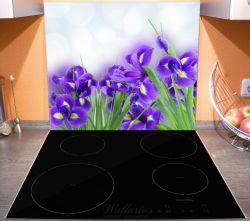 Herdabdeckplatte Abstrakte blaue Schwertlilien in Nahaufnahme – Bild 3