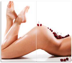 Herdabdeckplatte Kirschen auf dem Rücken einer nackten Frau – Bild 1