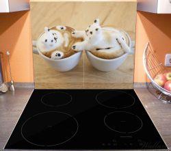 Herdabdeckplatte Süße Milchschaum Katzen auf Kaffee – Bild 3