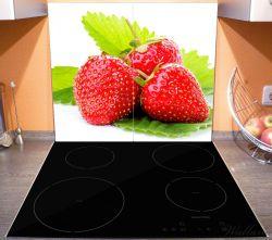 Herdabdeckplatte Frische rote Erdbeeren für die Küche – Bild 3