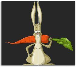Herdabdeckplatte Lustiger Hase mit Möhre im Comic Stil – Bild 1