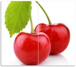 Herdabdeckplatte Saftige Süß-Kirschen mit grünem Blatt – Bild 1