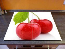 Herdabdeckplatte Saftige Süß-Kirschen mit grünem Blatt – Bild 2