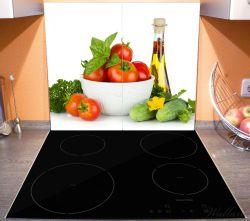 Herdabdeckplatte Frische Salatzutaten mit Kräuter-Öl - Tomaten, Gurke, Petersilie – Bild 3