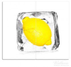 Herdabdeckplatte Zitrone in Eiswürfel - Eiskaltes Obst – Bild 1