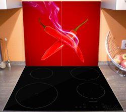 Herdabdeckplatte Rauchende Chili-Schoten im Duo vor rotem Hintergrund – Bild 3