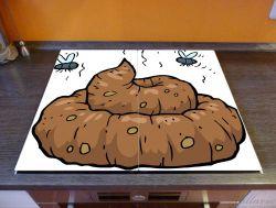Herdabdeckplatte Comic Scheißhaufen mit Fliegen – Bild 2