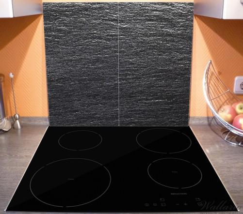Herdabdeckplatte Muster schwarze Schiefertafel Optik Steintafel – Bild 3