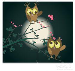 Herdabdeckplatte Süße verliebte Eulen auf dem Ast bei Nacht im Mondschein – Bild 1