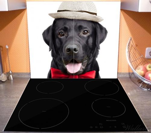 Herdabdeckplatte Schwarzer Labrador Retriever mit roter Fliege und Mütze – Bild 3