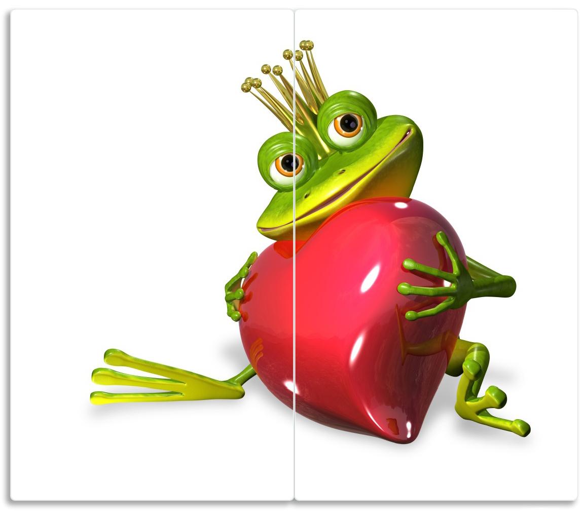 Herdabdeckplatte Verliebter Froschkönig mit großem Herz – Bild 1