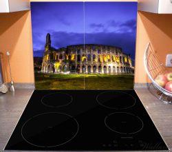 Herdabdeckplatte Italien bei Nacht - Kollosseum in Rom, beleuchtet am Abend – Bild 3