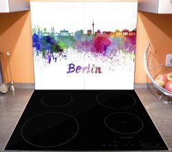 Herdabdeckplatte Städte als Aquarell - Skyline von Berlin – Bild 3