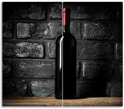 Herdabdeckplatte Rotwein-Flasche am Abend – Bild 1