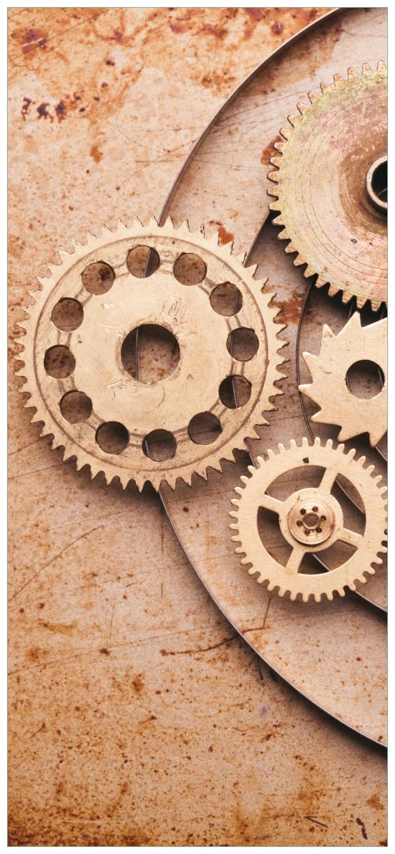 Türtapete Zahnräder einer alten Uhr im alten Stil – Bild 1