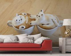 Vliestapete Süße Milchschaum Katzen auf Kaffee – Bild 3