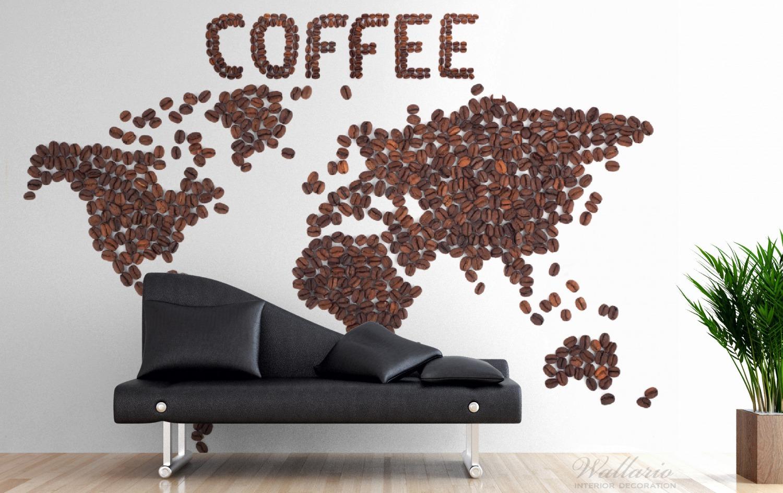 Vliestapete Weltkarte mit Schriftzug aus Kaffeebohnen – Bild 3
