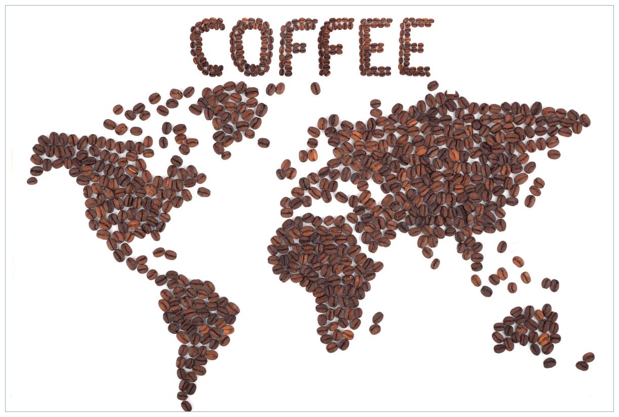 Vliestapete Weltkarte mit Schriftzug aus Kaffeebohnen – Bild 1