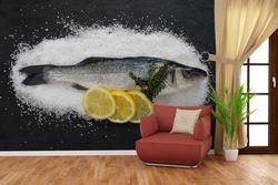 Vliestapete Fischmenü - Frischer Fisch auf Salz mit Zitronen – Bild 4