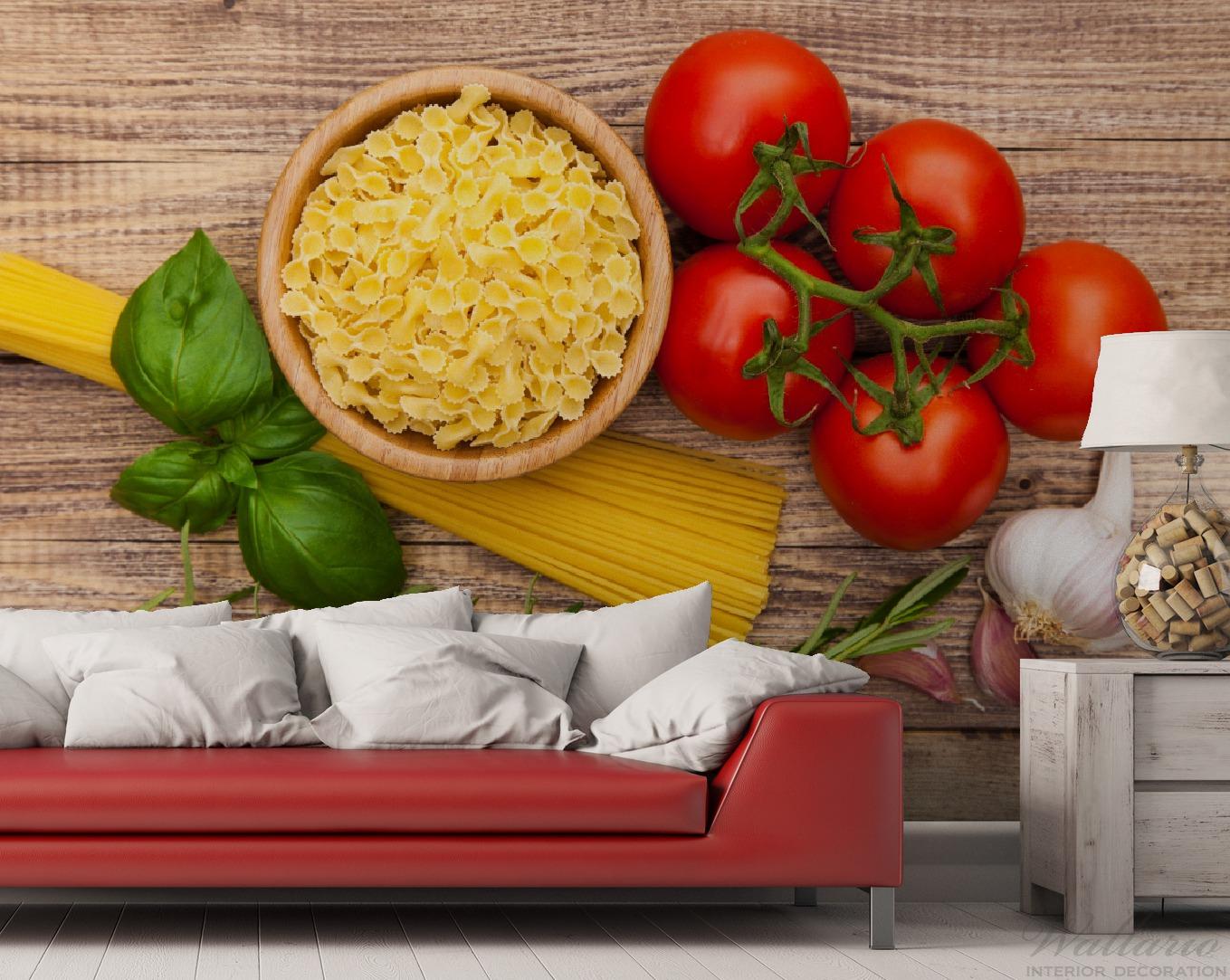 vliestapete spaghetti mit tomaten knoblauch und basilikum zutaten f r ein italienisches abendmahl. Black Bedroom Furniture Sets. Home Design Ideas
