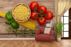 Vliestapete Spaghetti mit Tomaten, Knoblauch und Basilikum - Zutaten für ein italienisches Abendmahl – Bild 4
