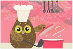 Vliestapete Lustige Eule beim Kochen mit Kochmütze – Bild 1