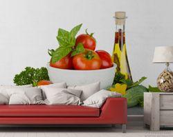 Vliestapete Frische Salatzutaten mit Kräuter-Öl - Tomaten, Gurke, Petersilie – Bild 2